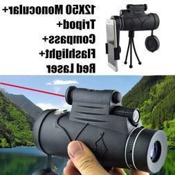 12X50 HD Monoculars Flashlight+infrared Night Vision Telesco