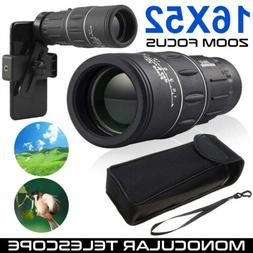 16X52 Zoom Optical HD Monocular Telescope+Clip for Outdoor T