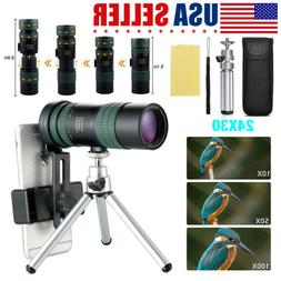 4K 8-24X30mm Super Telephoto Zoom Monocular Telescope W/ Tri