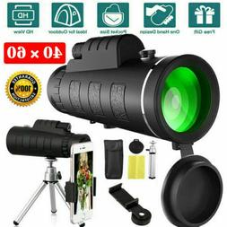 40X60 HD BAK4 Monocular Telescope+Phone Clip Tripod Night Vi