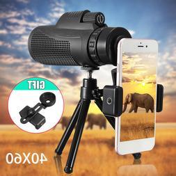 40X60 Zoom Monocular Telescope Camera Optical Lens +Clip+Tri