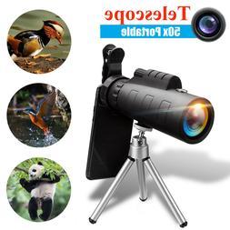 50X60 Zoom Optical HD Lens Monocular Telescope + Tripod + Cl