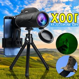 80x100 monocular telescope with phone clip tripod