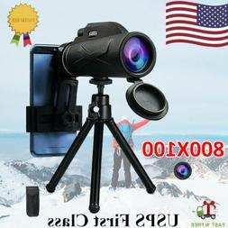 80X100 Zoom HD Lens Prism Hiking Monocular Telescope+Phone C