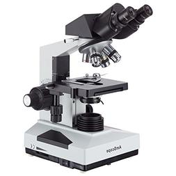 AmScope B490 Compound Binocular Microscope, WF10x Eyepieces,