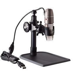 AmScope 5X-500X 2MP Metal Stand 8-LED Zoom Digital USB Micro
