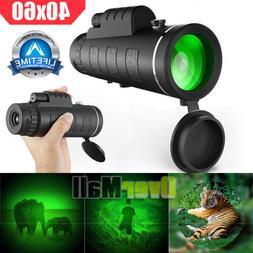 Day/Night Vision 40x60 Zoom High Power BAK4 Monocular Telesc