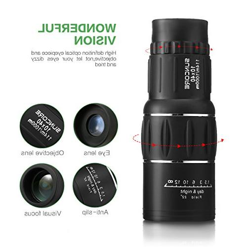 10x40 Focus Monocular Portable HD Spotting Scopes Optical Compact Monocular Strap/Tripod and Universal Phone Viewing