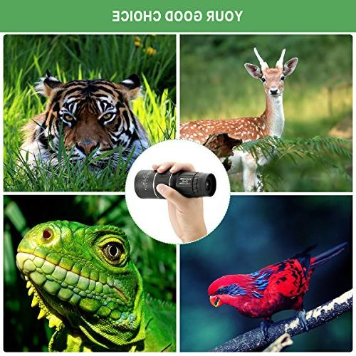 10x40 Focus Monocular Portable Spotting Scopes Optical Compact Monocular Strap/Tripod Phone Adapters Viewing