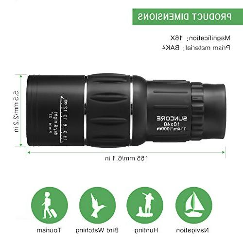 10x40 Focus Monocular Scope,SGODDE Portable HD Optical Telescope - Compact Monocular Strap/Tripod and Cell Phone Viewing