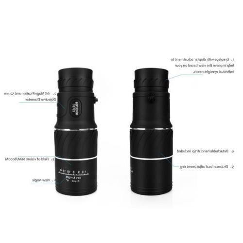 16x52 Night Vision HD Optical Monocular Camping Hiking