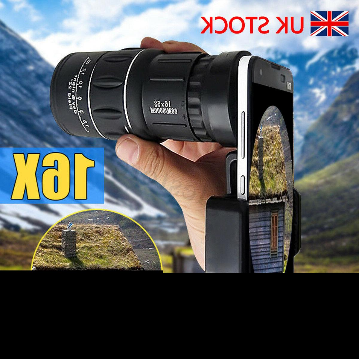 16x52 Hiking Monocular Telescope Lens Camera HD Scope Hunting Holder