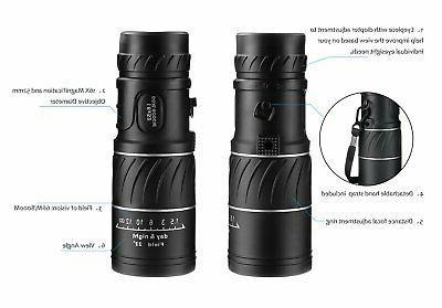 ARCHEER 16x52 HD Zoom Optical Monocular w/ Dual Focus Day Night Vison