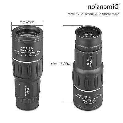 16x52 Optics Zoom Monocular Camping Hiking Telescope