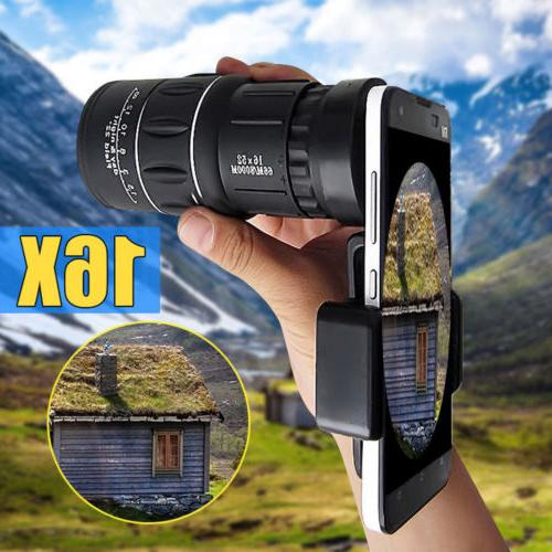 16x52 zoom hiking monocular telescope lens camera