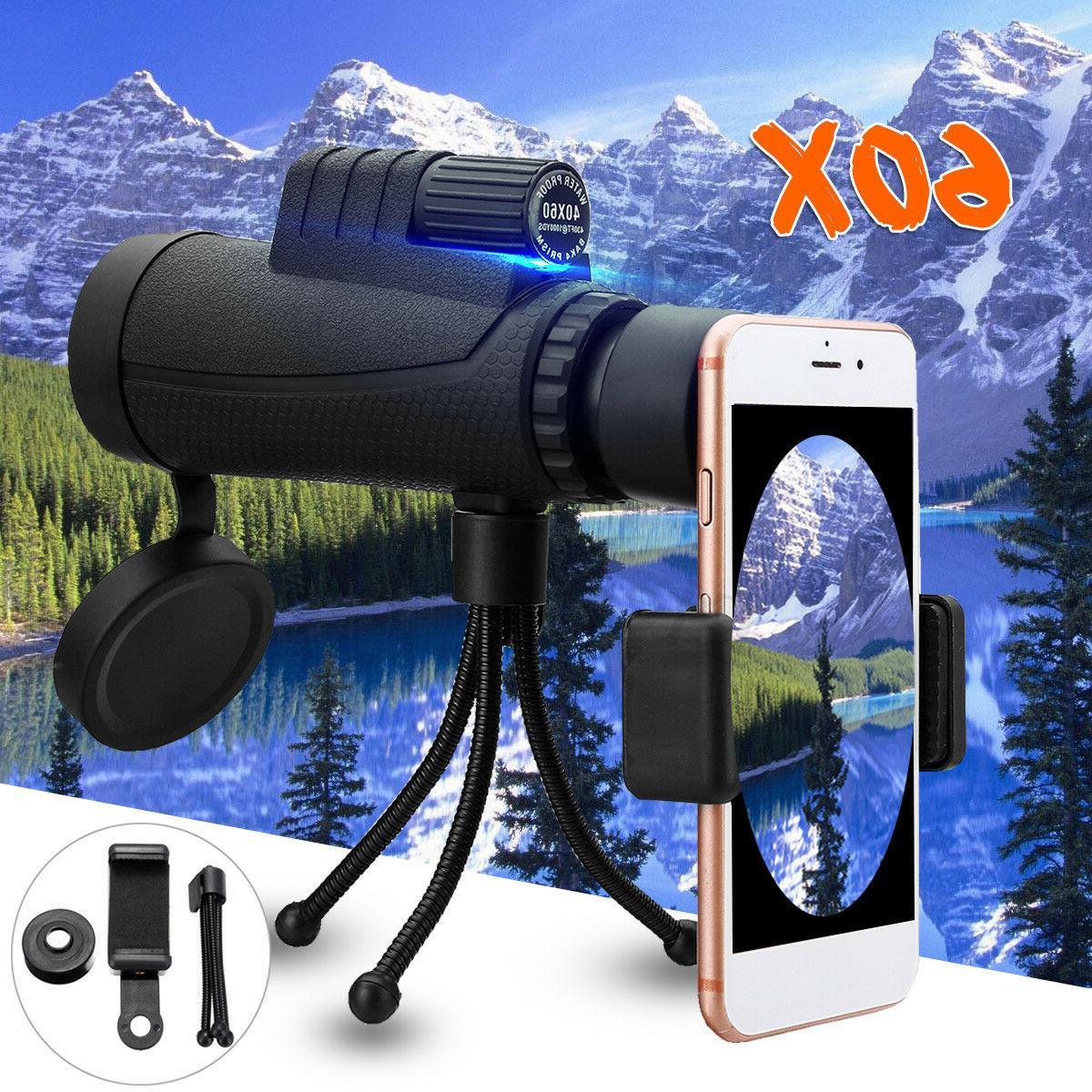 40X60 Monocular Telescope HD Tripod + Mobile Phone