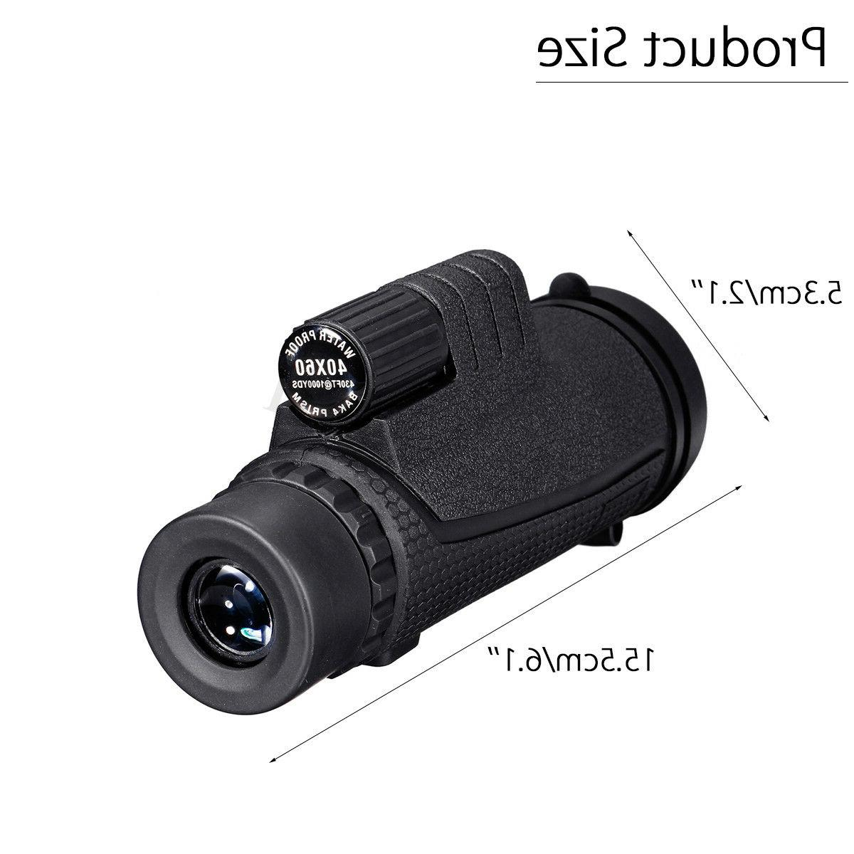 40X60 Monocular HD Optical Lens Tripod Clip Mobile Phone