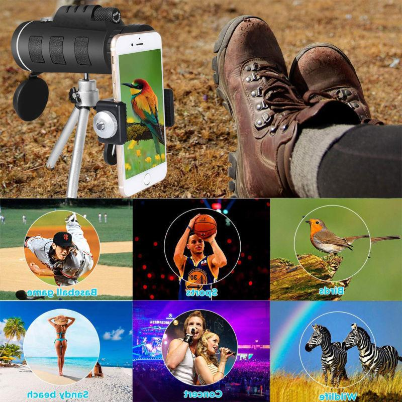 40X60 Zoom HD Night Monocular +Tripod+Clip for Outdoor