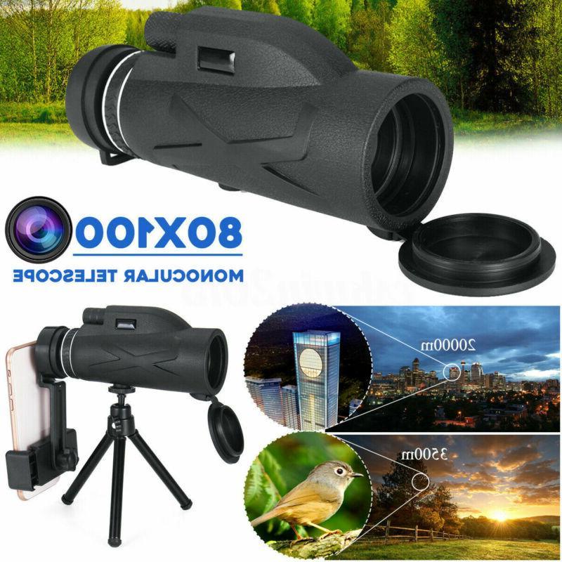 80x100 zoom hd lens prism hiking monocular
