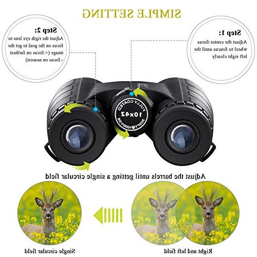 BNISE Binoculars Adults Compact, 10X42 HD BAK4 Prism FMC Lens, Suitable Travel, for Bird Hunting, with Adapter