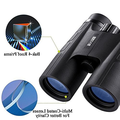 BNISE for Compact, 10X42 HD BAK4 Prism FMC Lens, Suitable for Travel, for Bird Hunting, with Adapter