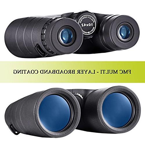 BNISE Binoculars Compact, 10X42 BAK4 FMC Suitable for Bird Watching, Hunting, Concerts, Adapter
