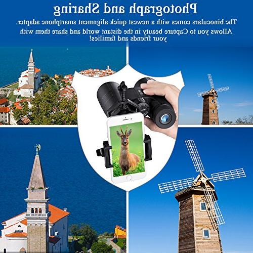 Compact, 10X42 BAK4 Lens, Suitable Outdoor Travel, for Bird Watching, Hunting, Adapter