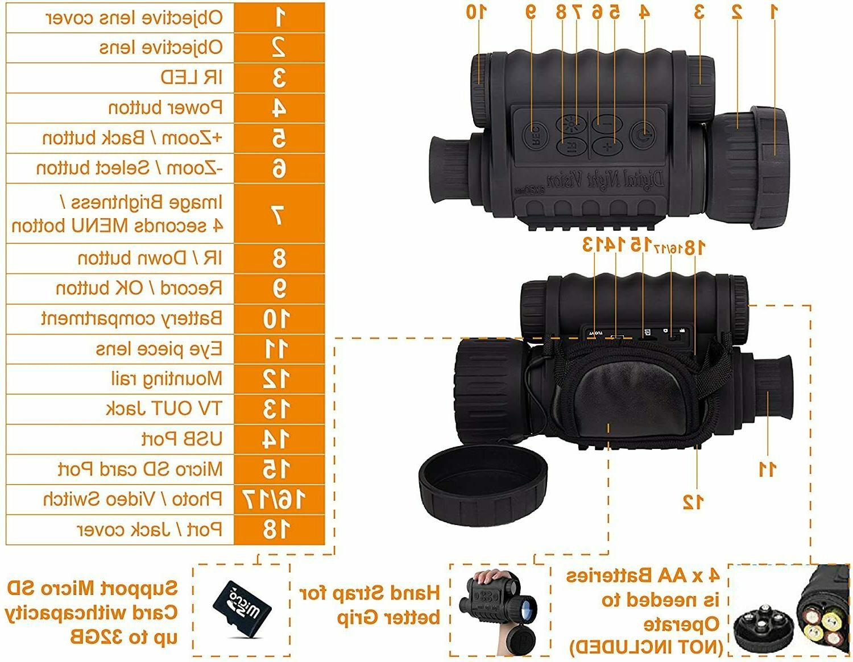 HD 6x50mm 1150 Digital Infrared Monocular Camera