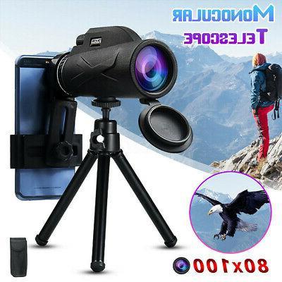80x100 Zoom Optical HD Lens Monocular Telescope+ Tripod/Clip