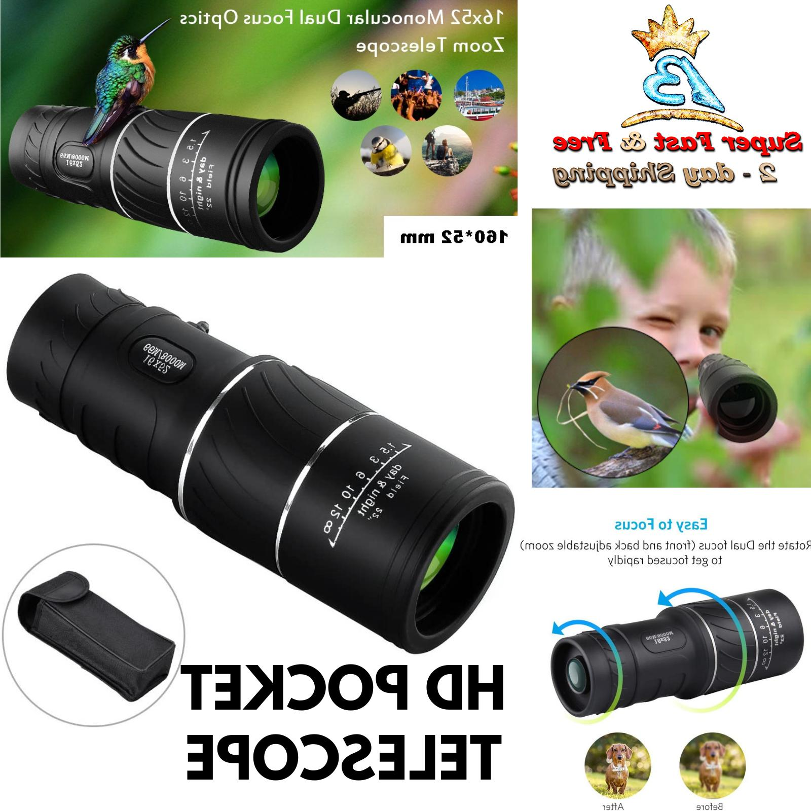 Monocular Pocket Telescope 16x52 HD Zoom Fishing Bird Tool H
