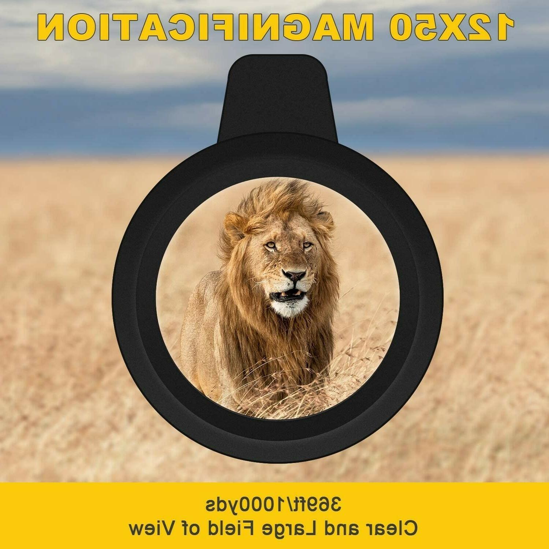 Monocular 12x50 Power HD Monocular Universal Smartphone