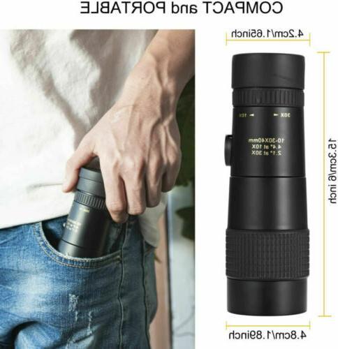 Monocular Telescope 4K 10-300x40mm Zoom Pocket Binocular Telephoto