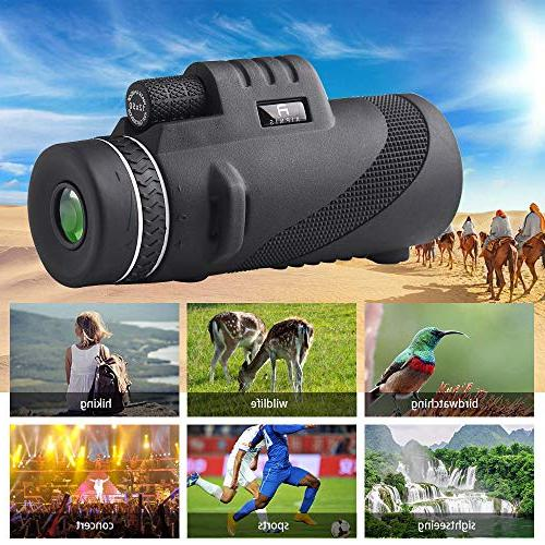 Monocular Telescope by AIPNIS - 12x50 Shockproof Fog-proof Light Night Smartphone Adapter and Tripod - BAK4 Prism FMC for Outdoor
