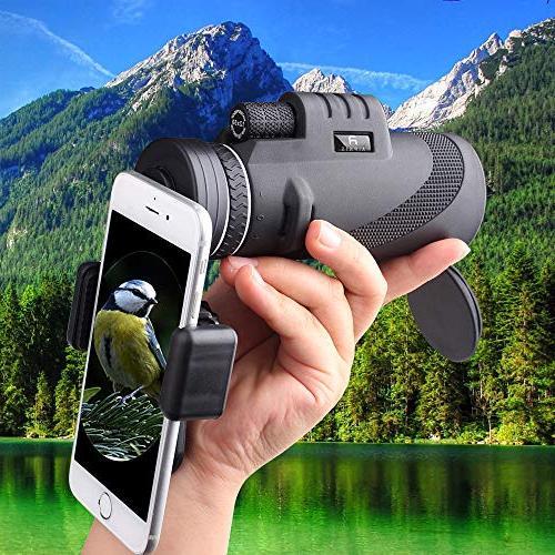 Monocular Telescope by - 12x50 Waterproof Shockproof Fog-proof Light Night Vision Smartphone Mount Adapter Tripod - BAK4 Prism FMC Outdoor Watching Hiking