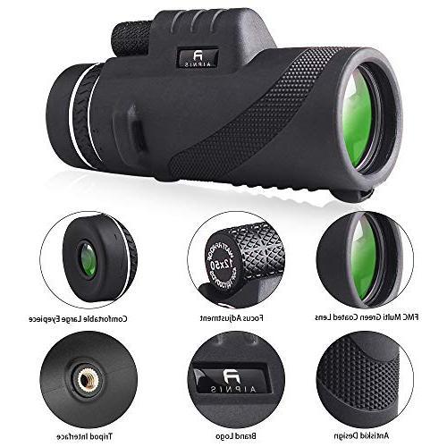 Monocular Telescope - 12x50 HD Shockproof Fog-proof Night Vision Scope Smartphone Tripod - BAK4 Prism FMC Outdoor
