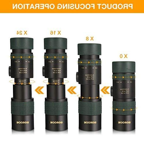 Monocular Telescope, Zoom Focus Scopes- BAK4 Prism Lens Smartphone Adapter for Bird Hiking