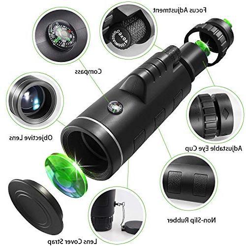 Monocular CE Optics 40x60 BAK4 Phone Mount Adults, Wildlife, Concerts
