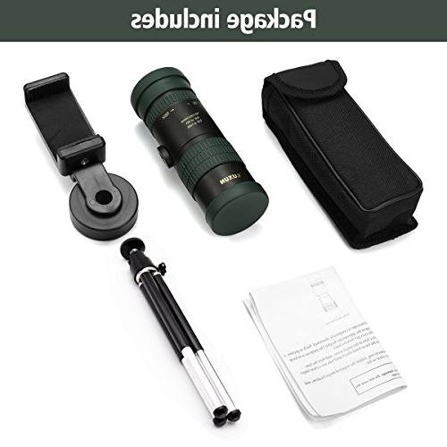 OUTERDO Telescope 10-100x30 Dual Focus Surveillance Traveling Bird-watching Prism Scope Durable Tripod and Waterproof Monocular Optics Bright