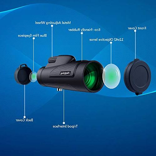 Monocular 12x50 HD Dual Focus Low Vision High Spotting with Phone Adapter Hunting, Hiking