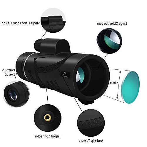 Allo HD Telescope, Low Night Monocular Adults Phone Adapter and Bird Watching, Hunting, Camping, Outdoor