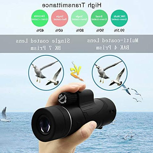 Allo 12x42 HD Monocular Telescope, Night Vision Monocular Adults with Adapter and Tripod - Watching, Traveling, Outdoor Sports