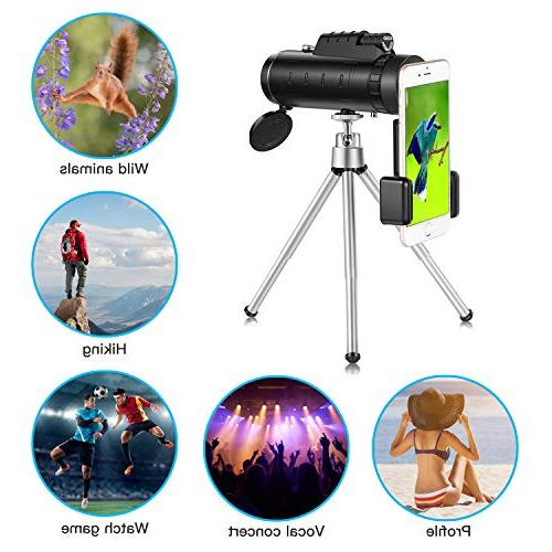 High Power Telescope 40×60 Prism Scope| Waterproof and with Retractable Eyepiece and Fully Versatile Coated Optical Lens + Phone