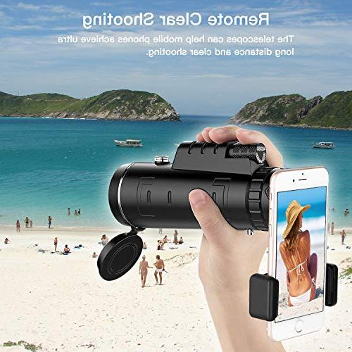 High Power Telescope - BAK4 Prism Monocular Scope| and Eyepiece Coated + Phone