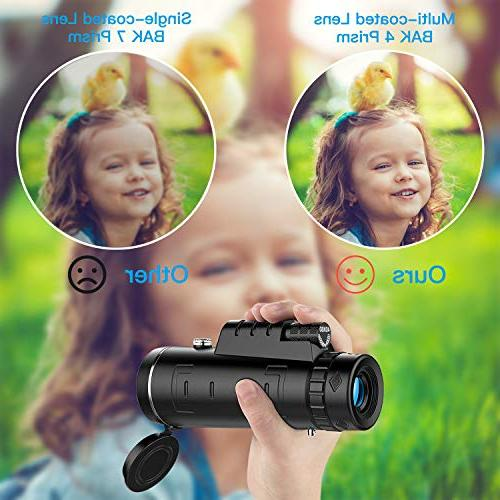 High Power Hd Monocular Telescope 40×60 BAK4 Prism and with Eyepiece and Coated Optical Glass +