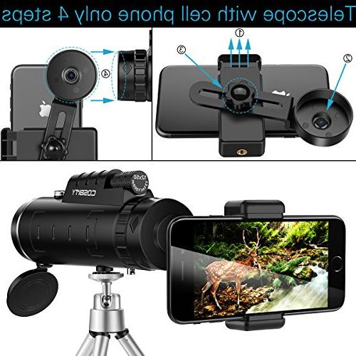 Monocular Telescopes, 12x50 Dual Focus Waterproof Low Night Vision Phone and Tripod for Phone-for Watching, Hiking, Outdoor, Surveillance