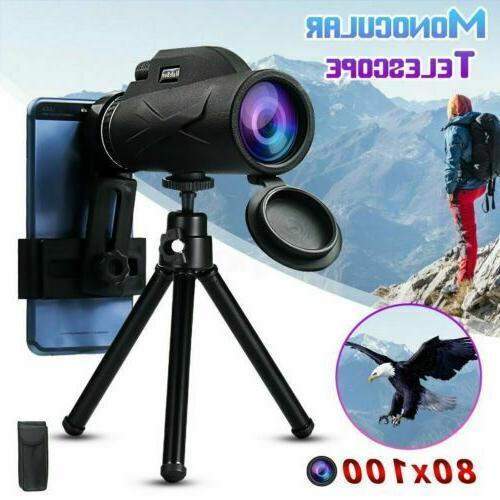 US 80x100 Zoom Portable HD Prism Monocular Cameras Telescope