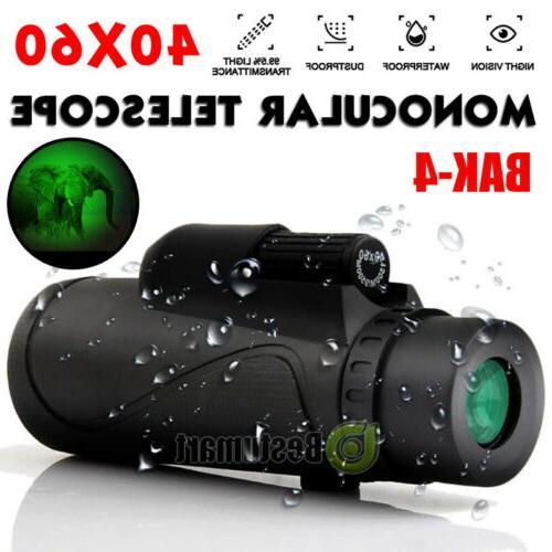 Waterproof 40X60 Night Vision HD Optical Monocular Hunting H