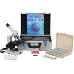 AmScope 40X-2500X Advanced Monocular Compound Microscope wit