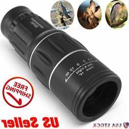 Monocular 16x52 Optics Zoom Lens Camping Hiking Telescope Sc