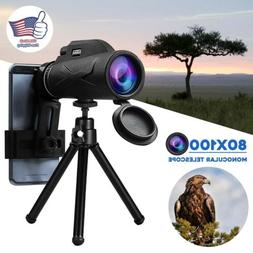 BAK4 80X100 Zoom HD Lens Prism Hiking Monocular Telescope+ P
